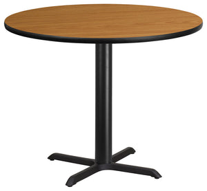 42'' Round Natural Laminate Table Top with 33'' x 33'' Table Height Base