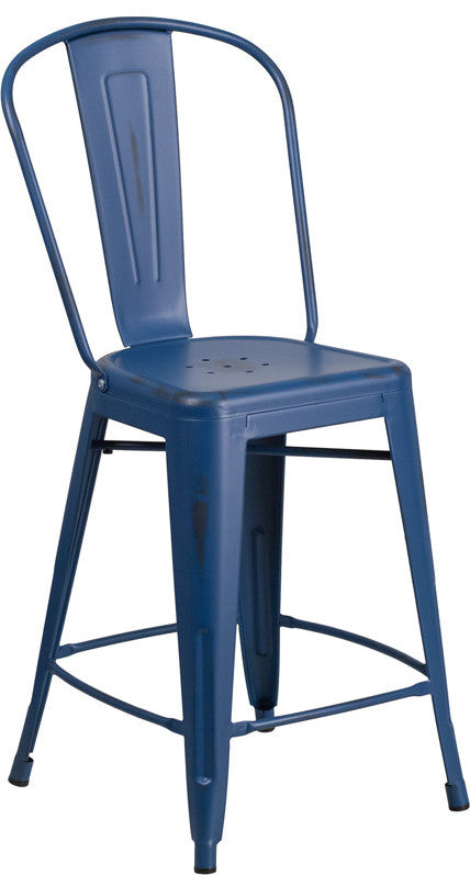 "Commercial Grade 24"" High Distressed Antique Blue Metal Indoor-Outdoor Counter Height Stool with Back"