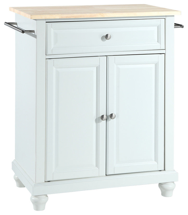 Cambridge Natural Wood Top Portable Kitchen Island, White Finish - Pot Racks Plus