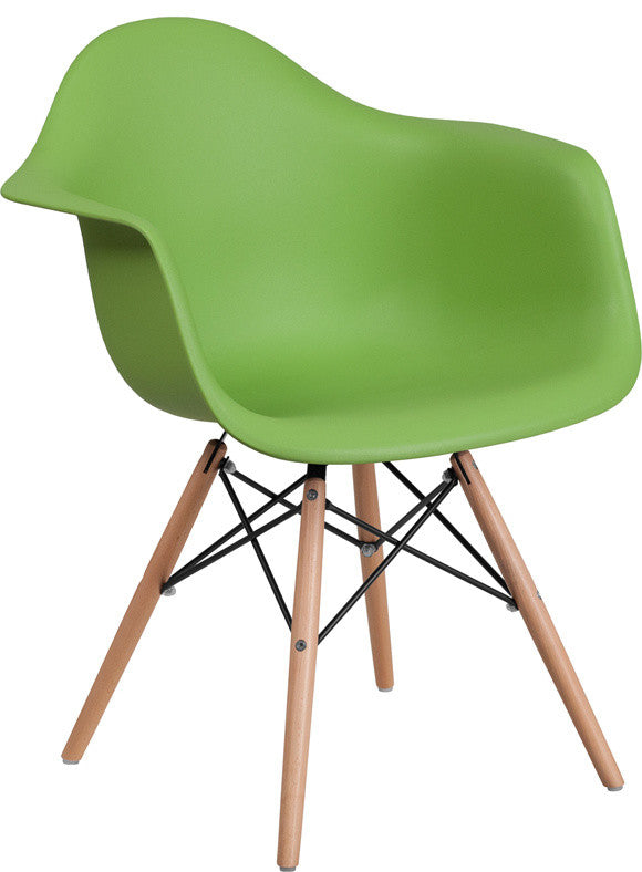 Alonza Series Green Plastic Chair with Wooden Legs