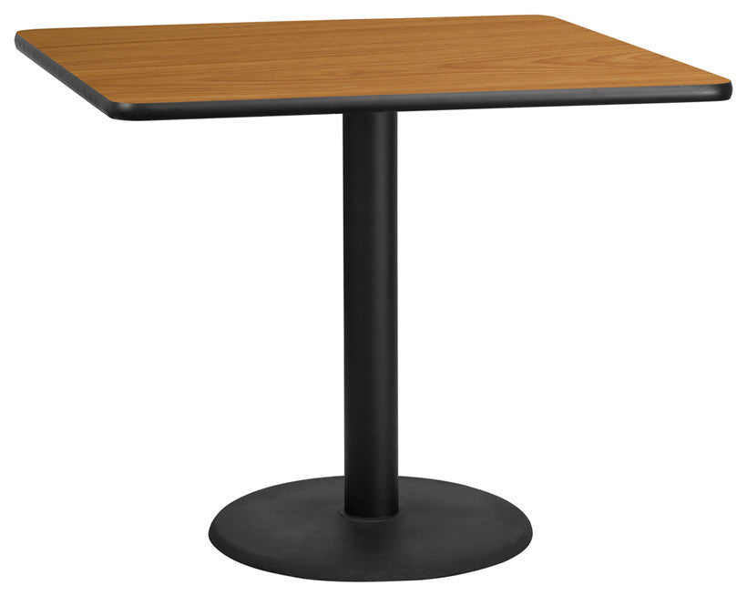 42'' Square Natural Laminate Table Top with 24'' Round Table Height Base