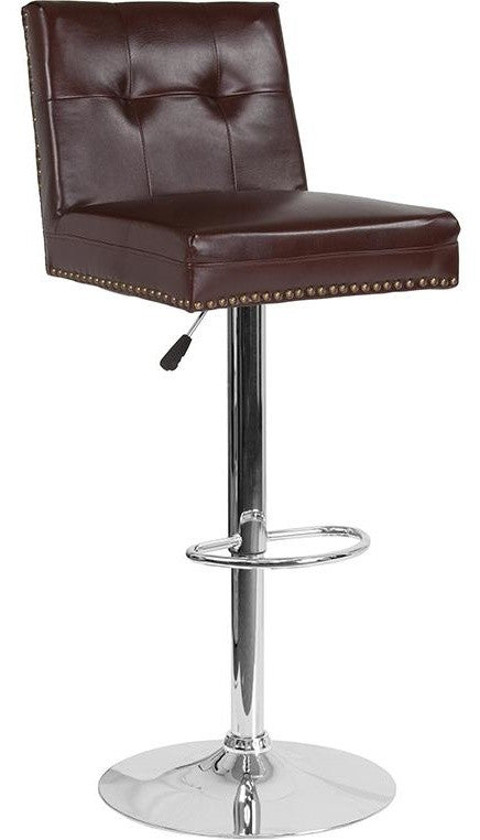 Ravello Contemporary Adjustable Height Barstool with Accent Nail Trim in Brown LeatherSoft