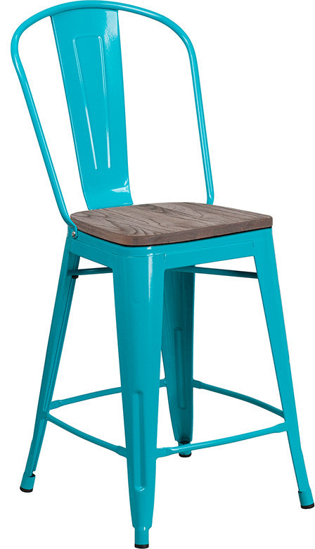 "24"" High Crystal Teal-Blue Metal Counter Height Stool with Back and Wood Seat"