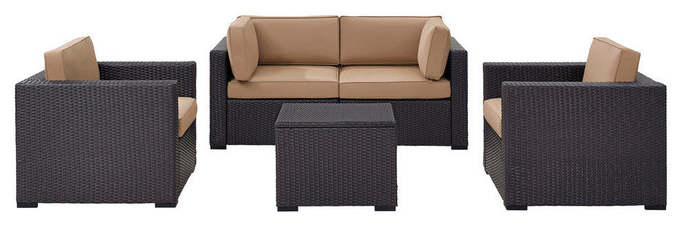 Biscayne 4 Person Wicker Patio 2 Armchairs, 2 Corner Chair, Coffee Table, Mocha - Pot Racks Plus