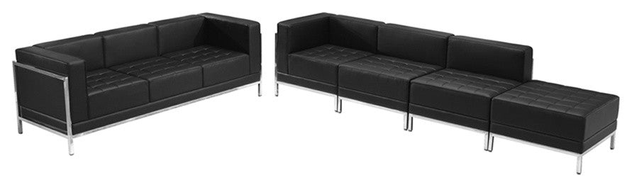 HERCULES Imagination Series Black LeatherSoft Sofa & Lounge Chair Set, 5 Pieces
