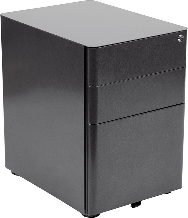 Modern 3-Drawer Mobile Locking Filing Cabinet with Anti-Tilt Mechanism and Hanging Drawer for Legal & Letter Files, Black