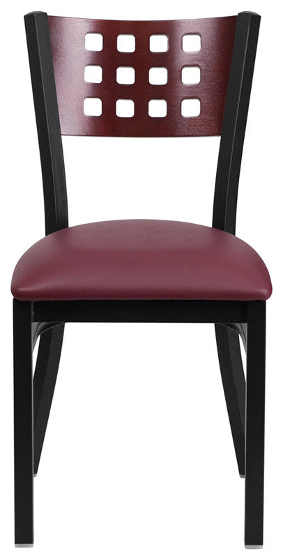 HERCULES Series Black Cutout Back Metal Restaurant Chair - Mahogany Wood Back, Burgundy Vinyl Seat