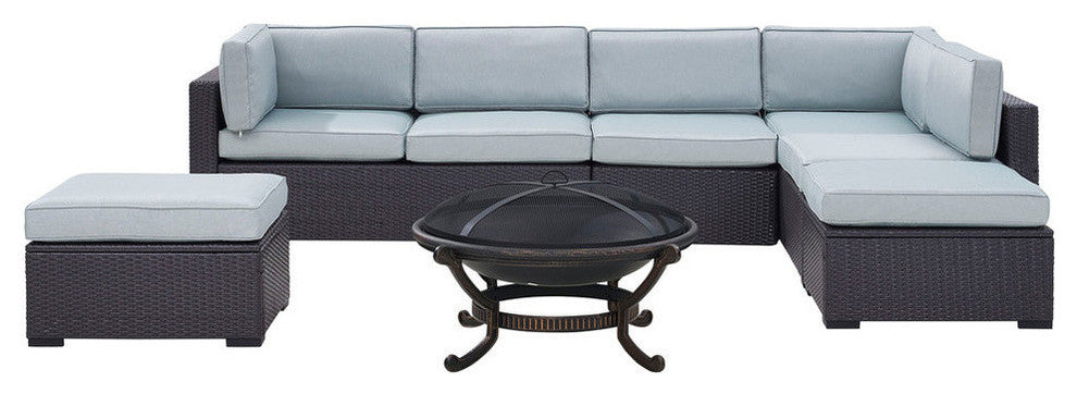 Biscayne Wicker Set 2 Loveseats, 1 Armless Chair, 2 Ottomans, Firepit, Mist - Pot Racks Plus