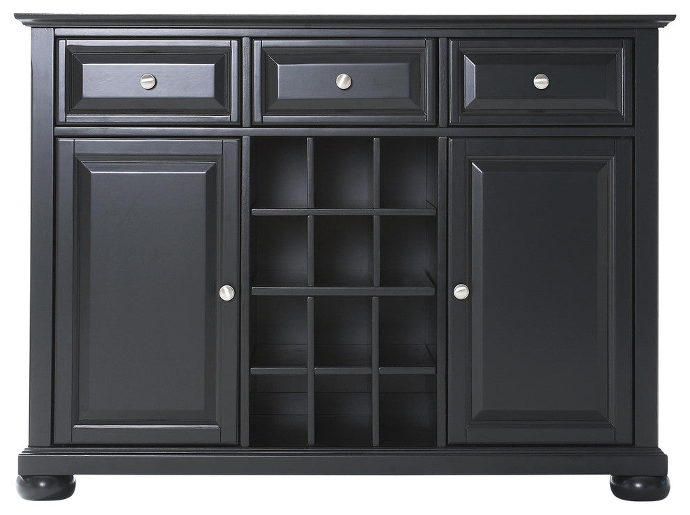 Alexandria Buffet Server-Sideboard Cabinet With Wine Storage, Black Finish - Pot Racks Plus