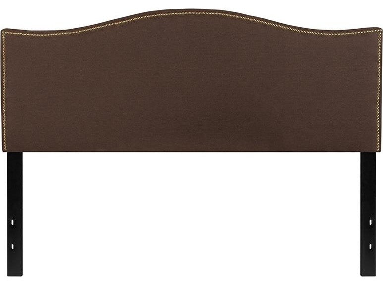 Lexington Upholstered Queen Size Headboard with Accent Nail Trim in Dark Brown Fabric