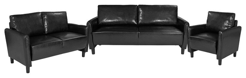Candler Park 3 Piece Upholstered Set in Black LeatherSoft