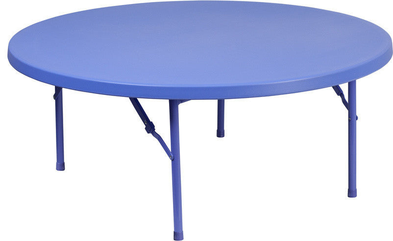 4-Foot Round Kid's Blue Plastic Folding Table