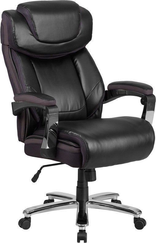 HERCULES Series Big & Tall 500 lb. Rated Black LeatherSoft Executive Swivel Ergonomic Office Chair with Adjustable Headrest