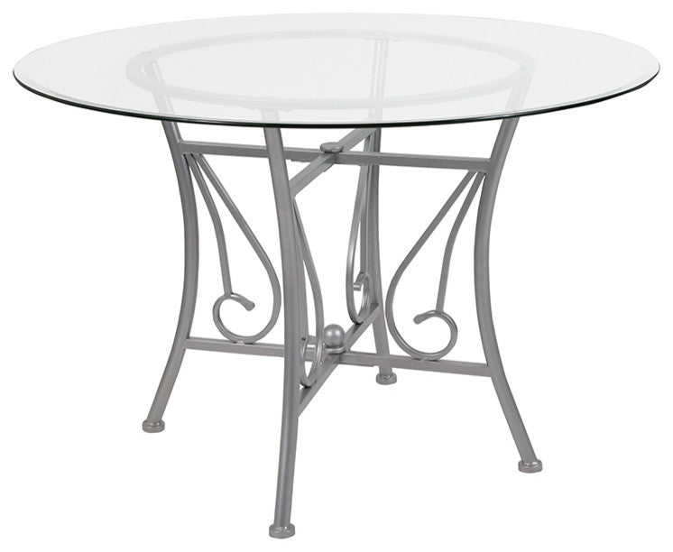 Flash Furniture Princeton 45'' Round Glass Dining Table with Silver Metal Frame - Pot Racks Plus