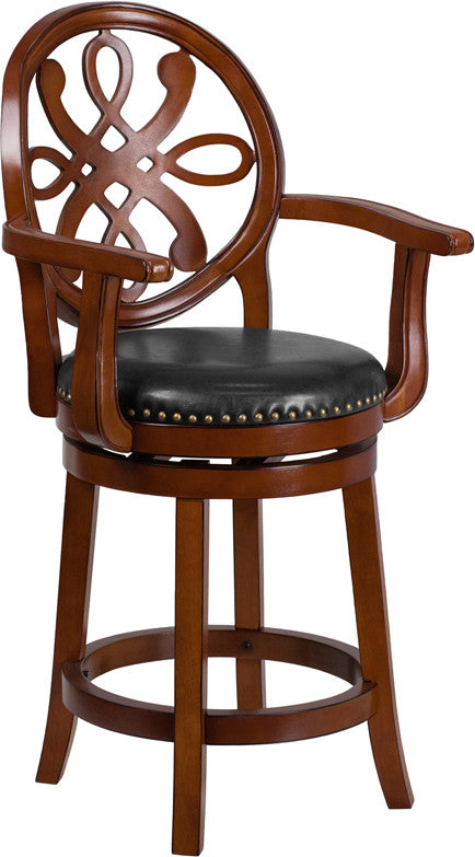 26'' High Brandy Wood Counter Height Stool with Arms, Carved Back and Black LeatherSoft Swivel Seat