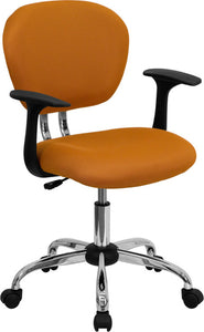 Mid-Back Orange Mesh Padded Swivel Task Office Chair with Chrome Base and Arms