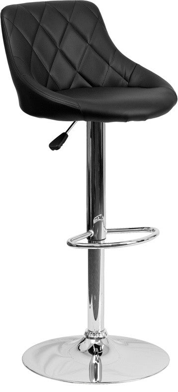 Flash Furniture Contemporary Black Vinyl Bucket Seat Adjustable Height Barstool with Diamond Pattern Back and Chrome Base - Pot Racks Plus