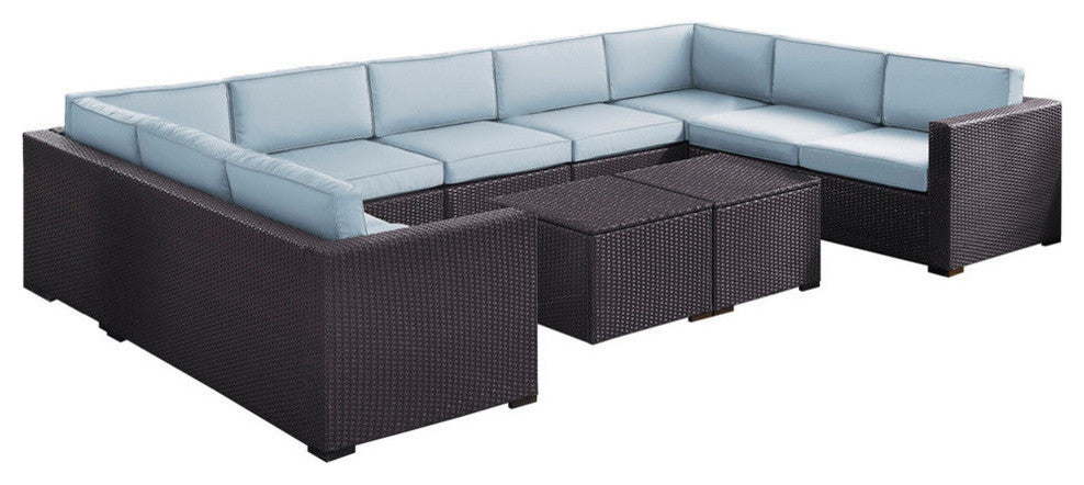 Biscayne 9 Person Wicker 4 Loveseats, 1 Armless Chair, 2 Coffee Tables, Mist - Pot Racks Plus