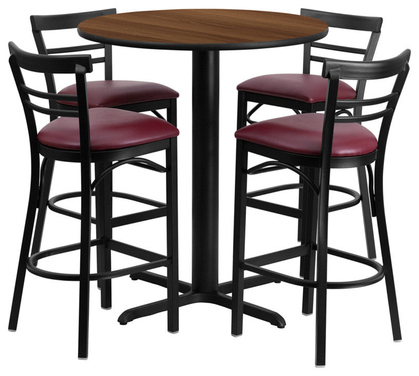 24'' Round Walnut Laminate Table Set with X-Base and 4 Two-Slat Ladder Back Metal Barstools - Burgundy Vinyl Seat