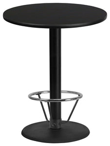 36'' Round Black Laminate Table Top with 24'' Round Bar Height Table Base and Foot Ring