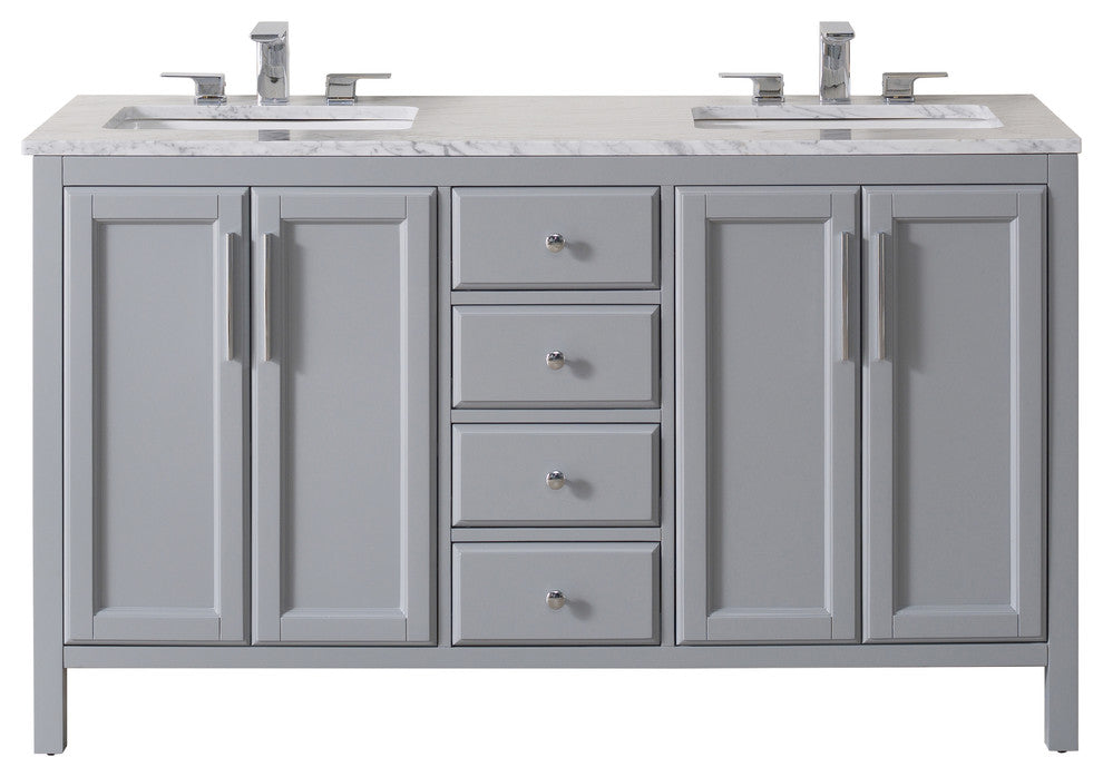 Wright 59 Inch Grey Double Sink Bathroom Vanity W/Drains & Faucets-Matte Black - Pot Racks Plus