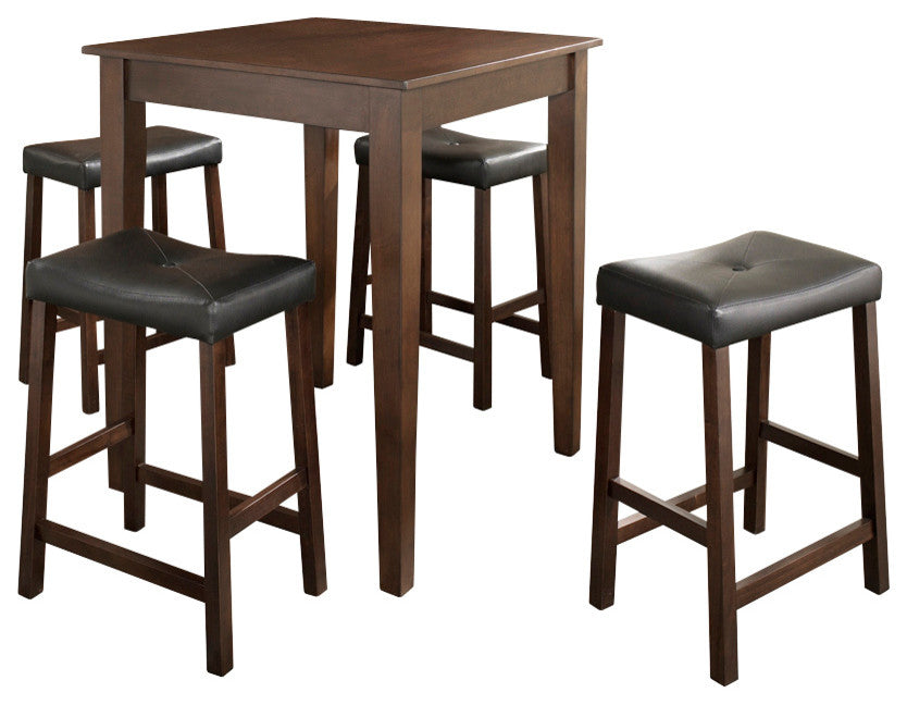 5-Piece Pub Dining Set With Tapered Leg and Upholstered Saddle Stools - Pot Racks Plus