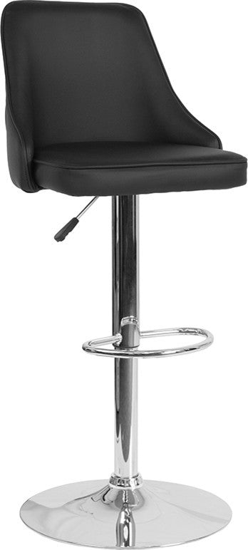 Trieste Contemporary Adjustable Height Barstool in Black LeatherSoft
