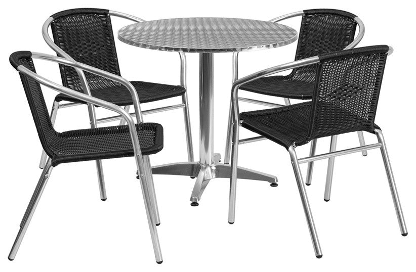 31.5'' Round Aluminum Indoor-Outdoor Table Set with 4 Black Rattan Chairs