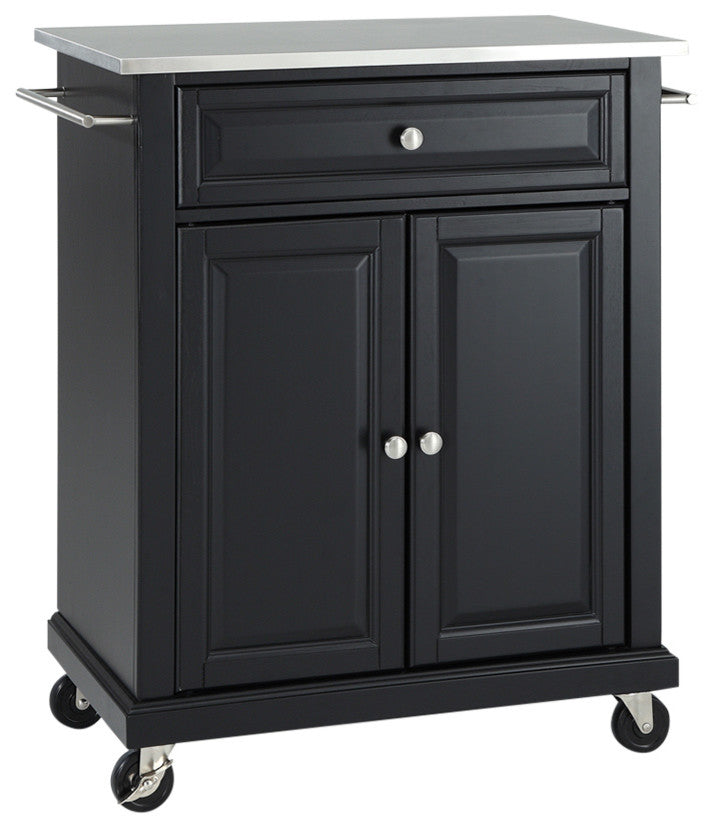 Stainless Steel Top Portable Kitchen Cart, Island, Black Finish - Pot Racks Plus