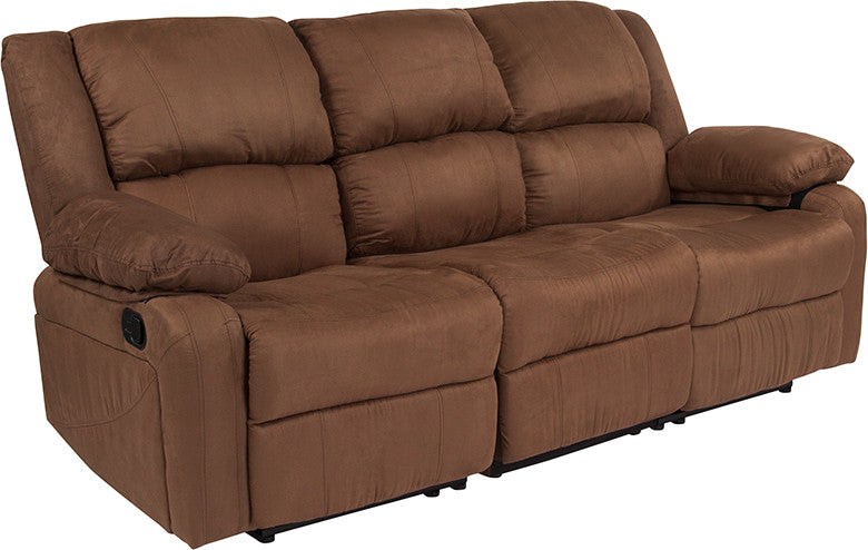 Flash Furniture   Harmony Series Chocolate Brown Microfiber Sofa with Two Built-In Recliners - Pot Racks Plus