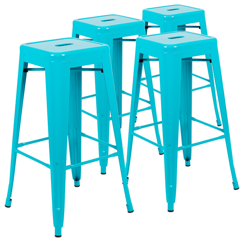 "Flash Furniture  30"" High Metal Indoor Bar Stool in Teal - Stackable Set of 4 - Pot Racks Plus"