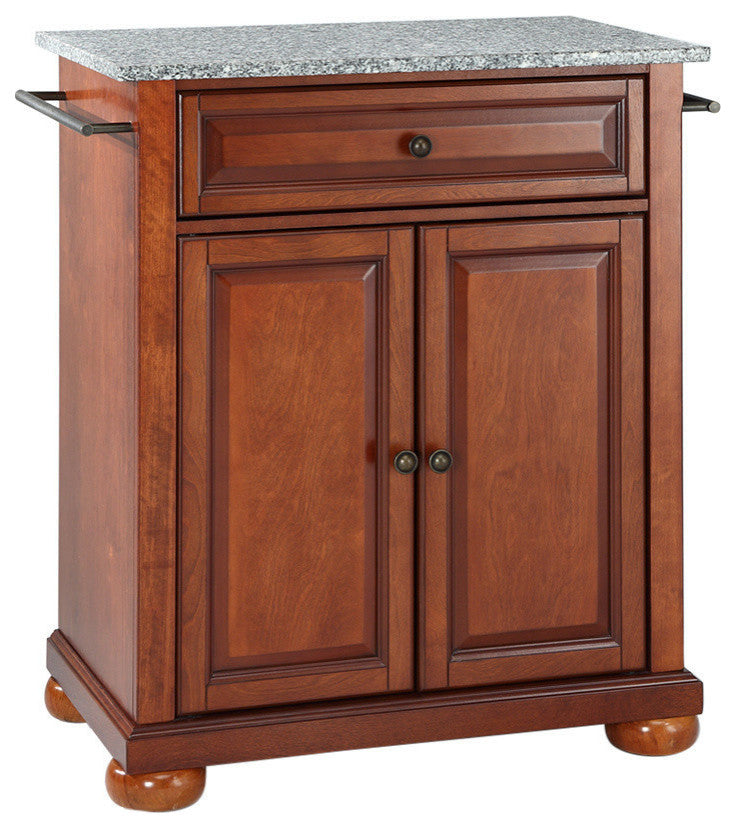 Alexandria Solid Granite Top Portable Kitchen Island, Classic Cherry Finish - Pot Racks Plus