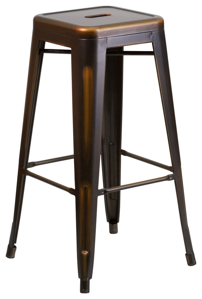 "Commercial Grade 30"" High Backless Distressed Copper Metal Indoor-Outdoor Barstool"