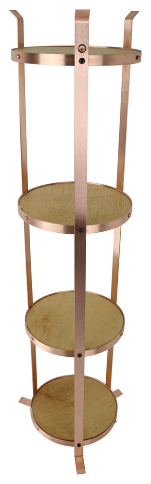 4-Tier Round Designer Stand Solid Copper, Unassembled - Pot Racks Plus
