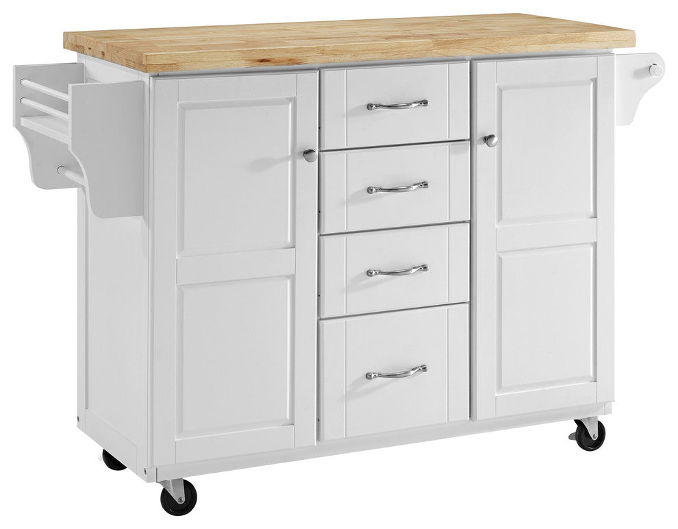 Elliott Kitchen Cart In White With Natural Top - Pot Racks Plus