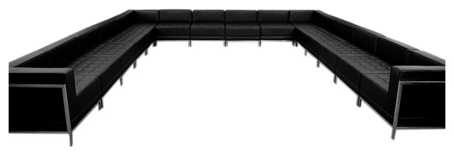 HERCULES Imagination Series Black LeatherSoft U-Shape Sectional Configuration, 16 Pieces