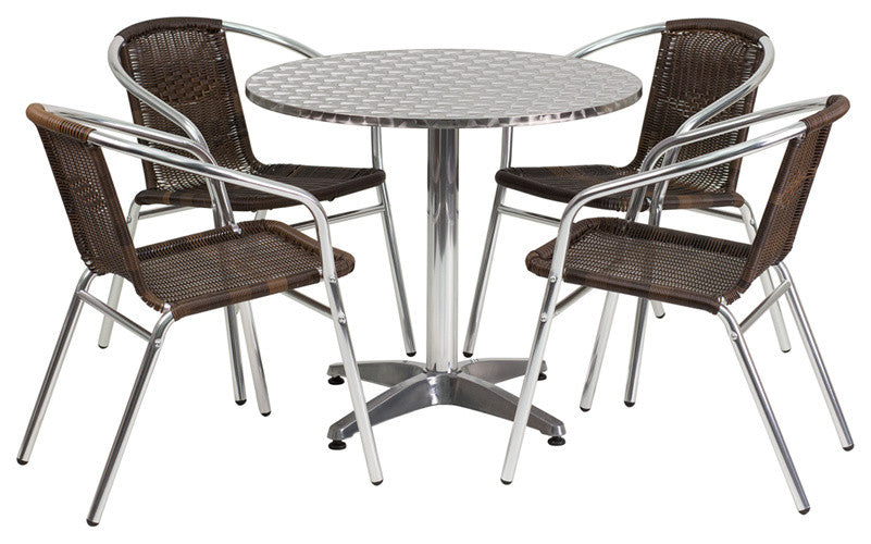31.5'' Round Aluminum Indoor-Outdoor Table Set with 4 Dark Brown Rattan Chairs
