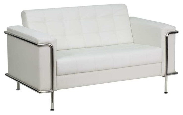 HERCULES Lesley Series Contemporary Melrose White LeatherSoft Loveseat with Encasing Frame