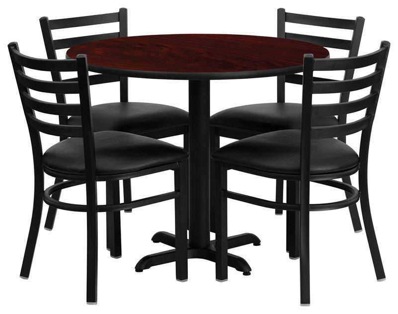 36'' Round Mahogany Laminate Table Set with X-Base and 4 Ladder Back Metal Chairs - Black Vinyl Seat