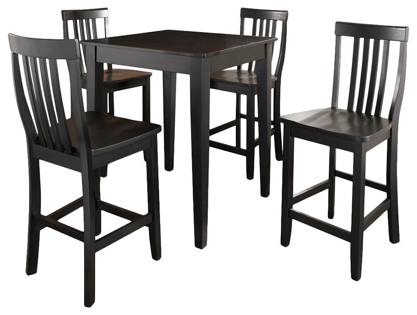 5-Piece Pub Dining Set With Tapered Leg and School House Stools, Black Finish - Pot Racks Plus