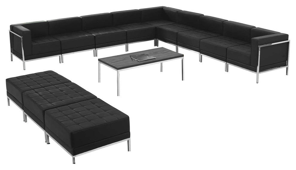HERCULES Imagination Series Black LeatherSoft Sectional & Ottoman Set, 12 Pieces