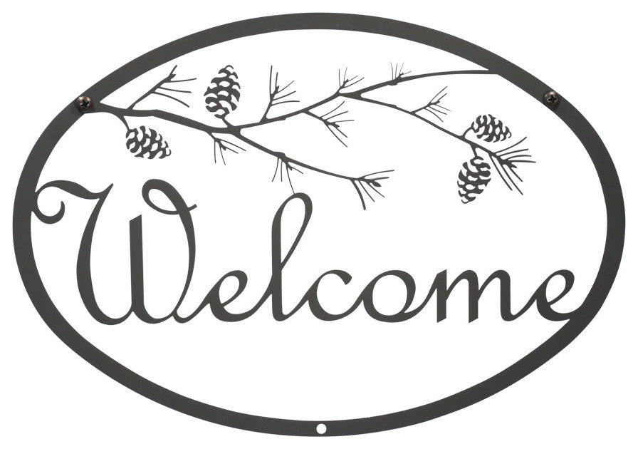 Welcome Sign, Small, Pine Cone