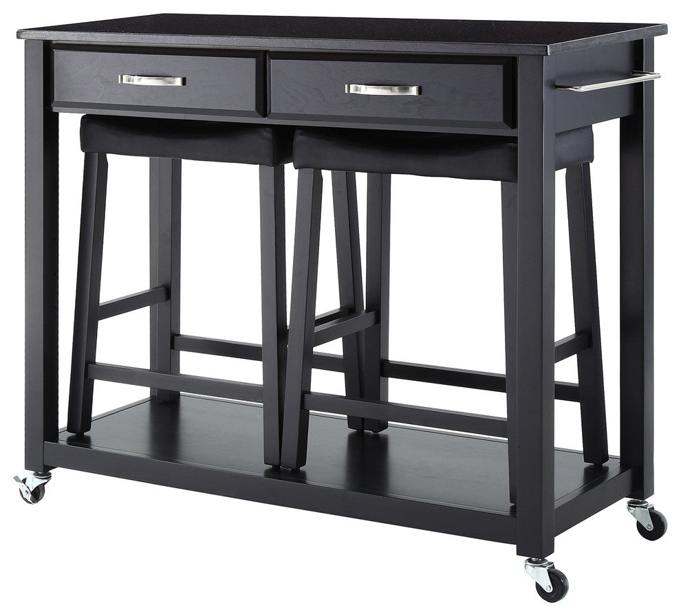"Solid Black Granite Top Kitchen Cart/Island, Black Finish With 24"" Black Uphol - Pot Racks Plus"