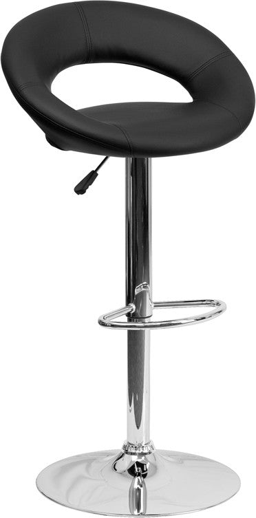 Contemporary Black Vinyl Rounded Orbit-Style Back Adjustable Height Barstool with Chrome Base