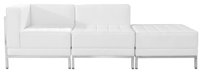 HERCULES Imagination Series Melrose White LeatherSoft 3 Piece Chair & Ottoman Set
