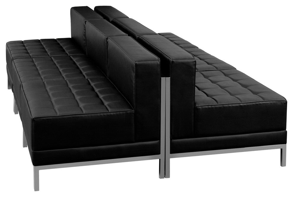 HERCULES Imagination Series Black LeatherSoft Lounge Set, 6 Pieces