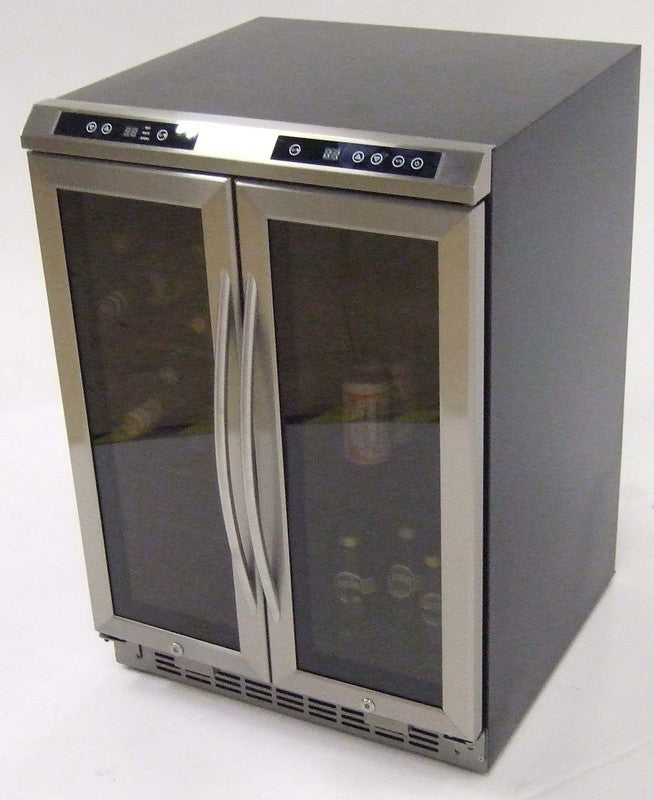 Avanti   Side-by-side, Dual Zone Wine Cooler, Black Cabinet with Glass Door and Stainless - Pot Racks Plus