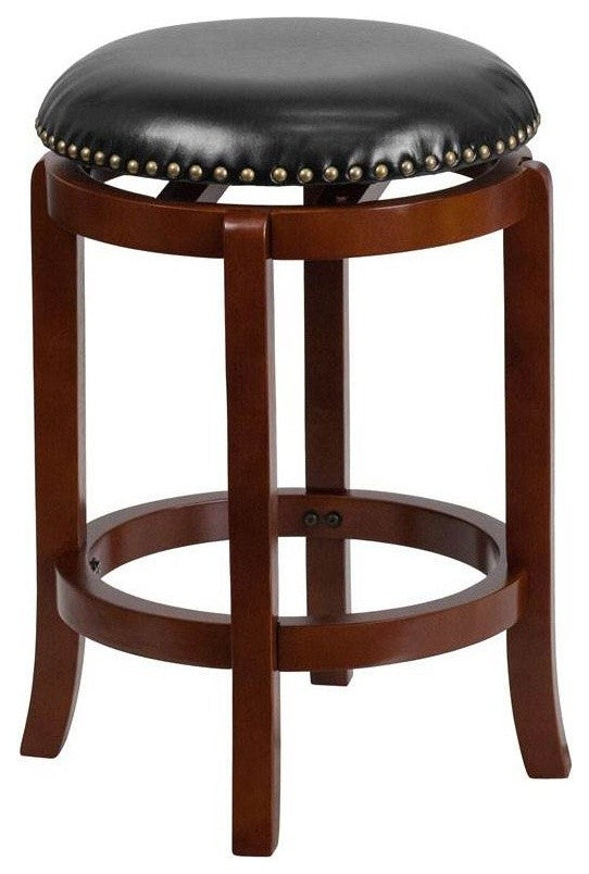 24'' High Backless Light Cherry Wood Counter Height Stool with Black LeatherSoft Swivel Seat