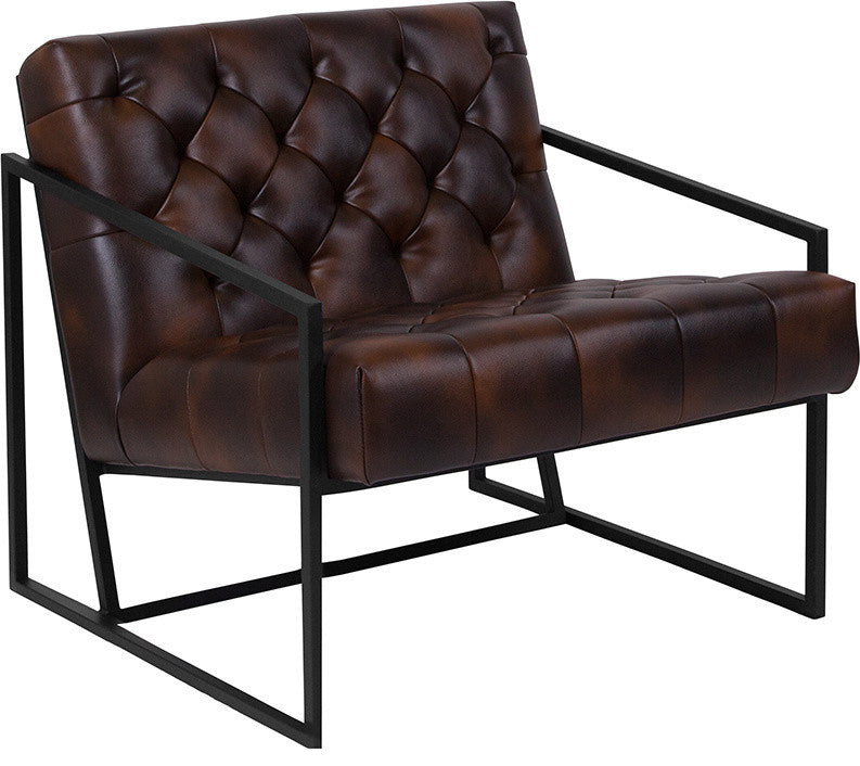 HERCULES Madison Series Bomber Jacket LeatherSoft Tufted Lounge Chair