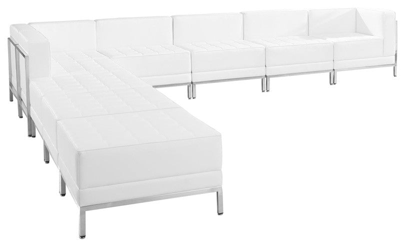 HERCULES Imagination Series Melrose White LeatherSoft Sectional Configuration, 9 Pieces